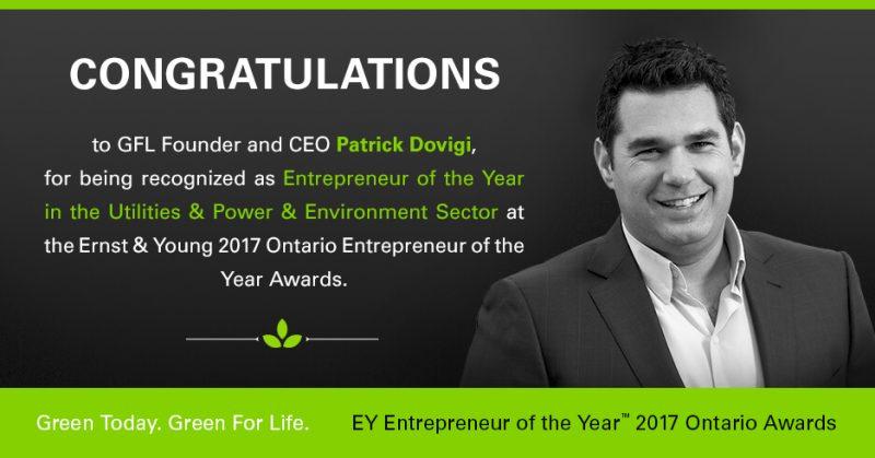 Congratulations to GFL Founder and CEO Patrick Dovigi