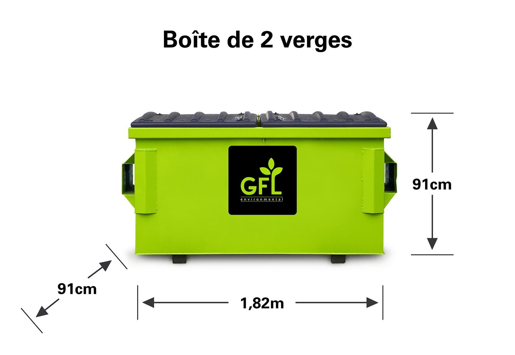 Boîte de recyclage mélangée de 2 verges