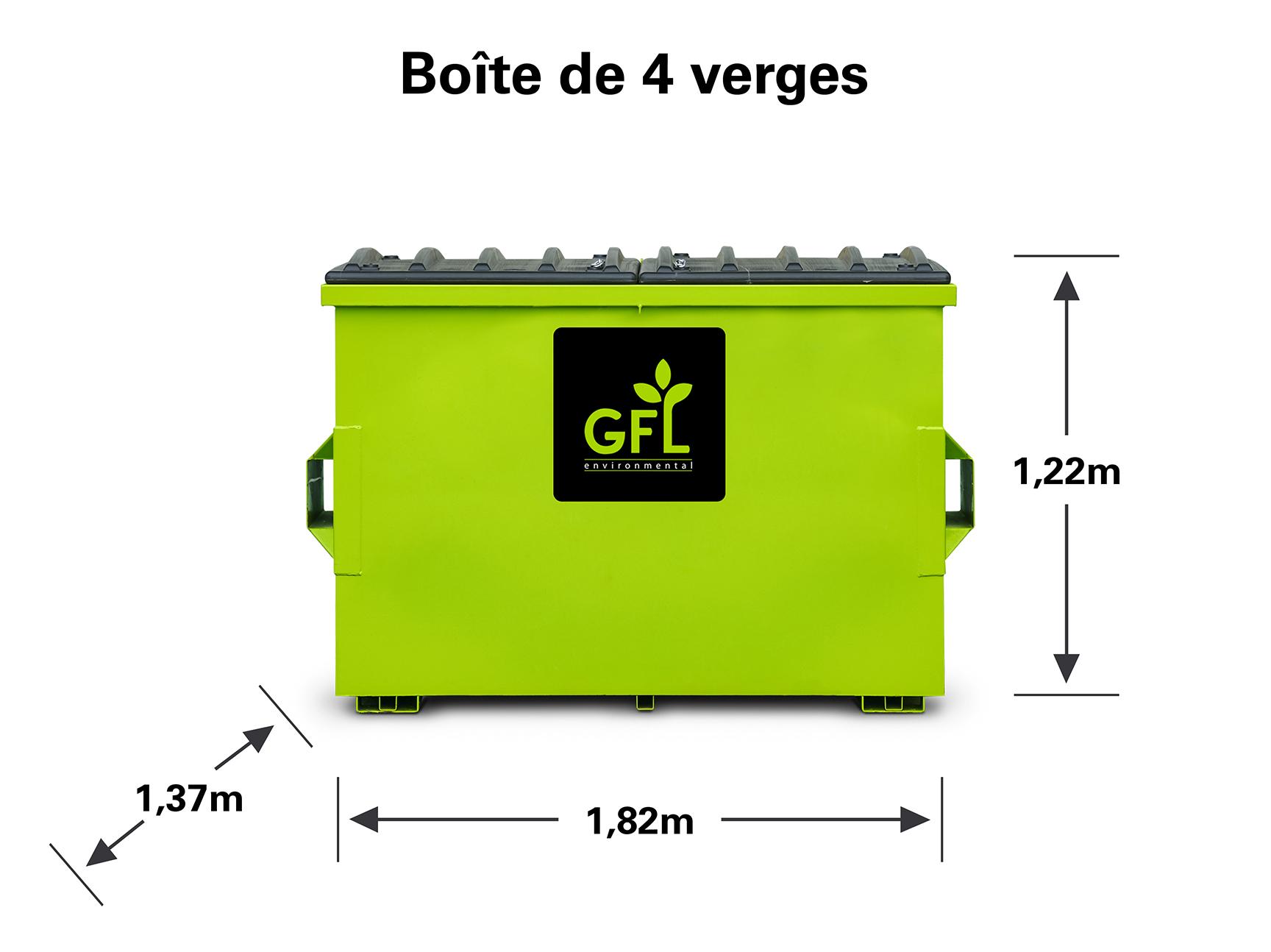 Boîte de recyclage mélangée de quatre verges