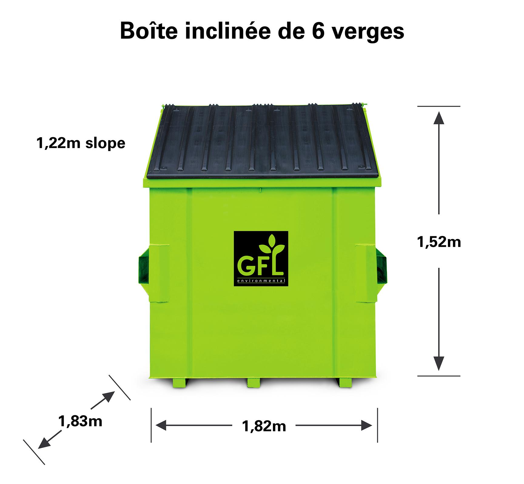 Boîte de recyclage à tête oblique de six verges