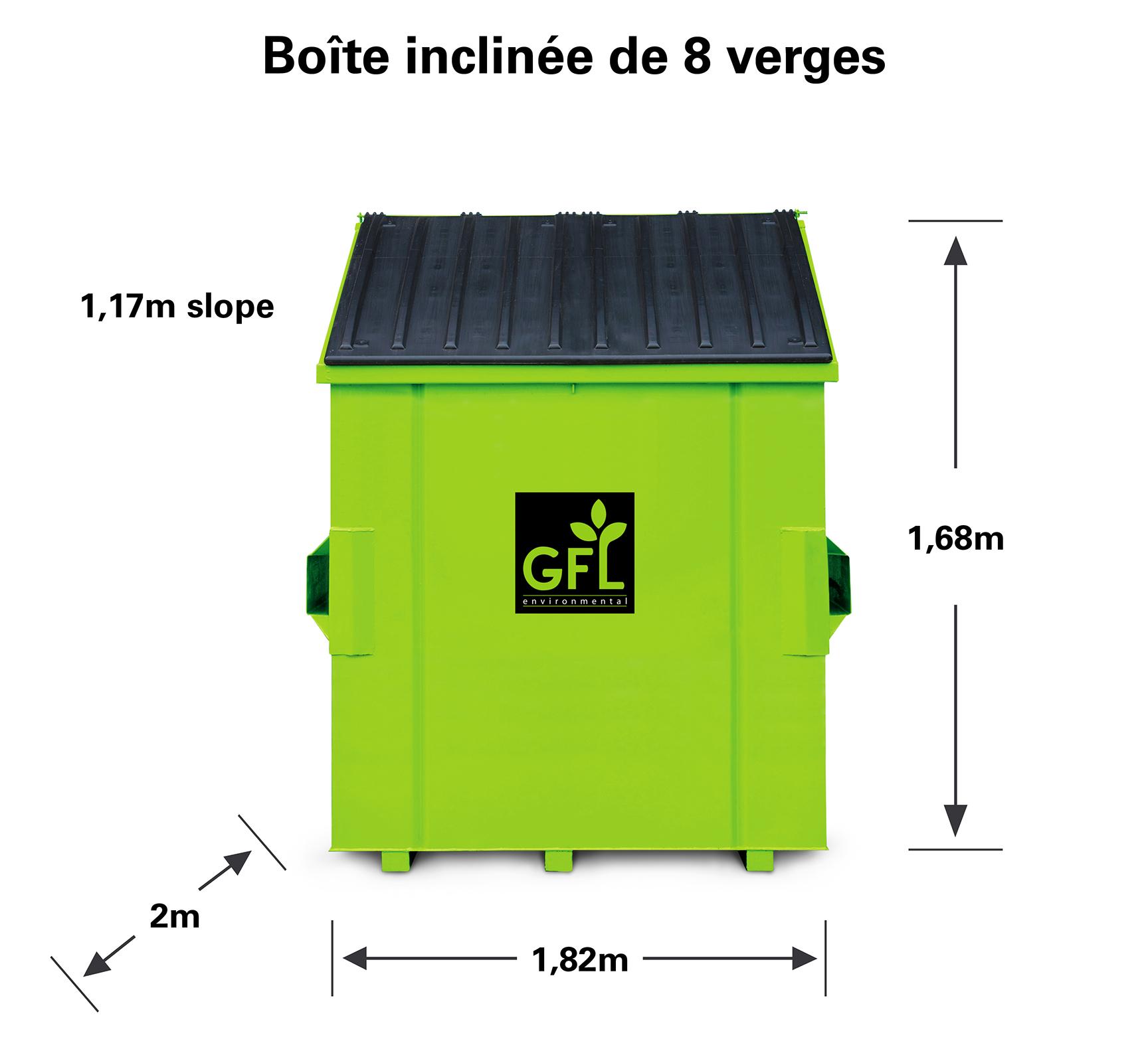 Boîte de recyclage à tête oblique de 8 verges